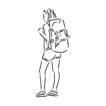 Sketch of man trekking with big backpack Hand drawn illustration Imagens - 153085135