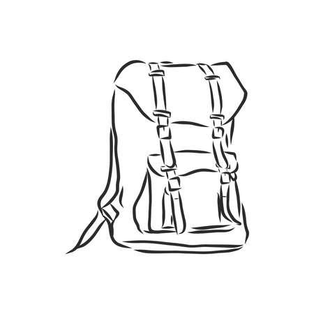 sketch illustration backpack . Ilustração