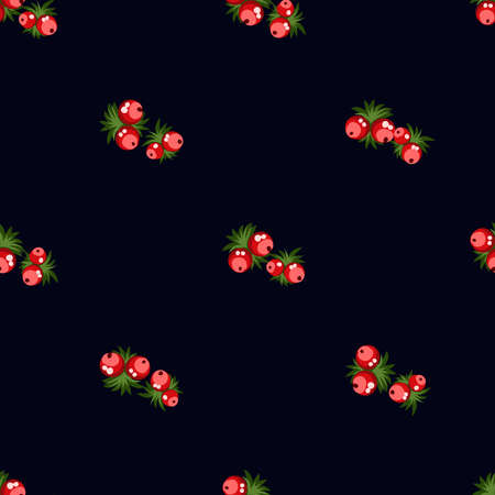 Seamless pattern of berries, flowers . Hand drawn floral ornament. Design for textile, paper, packaging, bedding from colorful doodle elements in folk style. Imagens - 153085143