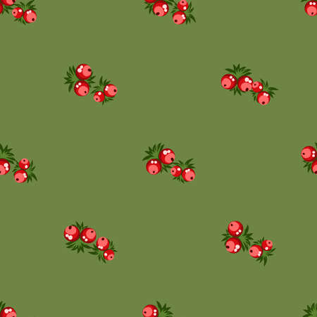 Seamless pattern of berries, flowers . Hand drawn floral ornament. Design for textile, paper, packaging, bedding from colorful doodle elements in folk style. Vectores