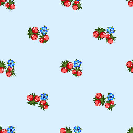 Seamless pattern of berries, flowers . Hand drawn floral ornament. Design for textile, paper, packaging, bedding from colorful doodle elements in folk style. Imagens - 153085146