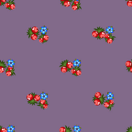 Seamless pattern of berries, flowers . Hand drawn floral ornament. Design for textile, paper, packaging, bedding from colorful doodle elements in folk style. Ilustração