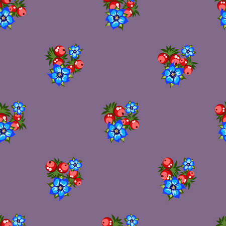 Seamless pattern of berries, flowers . Hand drawn floral ornament. Design for textile, paper, packaging, bedding from colorful doodle elements in folk style. Imagens - 153085150