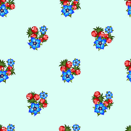 Seamless pattern of berries, flowers . Hand drawn floral ornament. Design for textile, paper, packaging, bedding from colorful doodle elements in folk style. 向量圖像