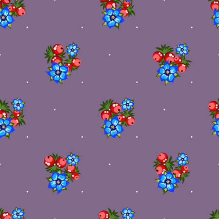 Seamless pattern of berries, flowers . Hand drawn floral ornament. Design for textile, paper, packaging, bedding from colorful doodle elements in folk style. Imagens - 153085769