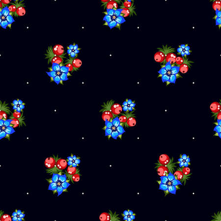 Seamless pattern of berries, flowers . Hand drawn floral ornament. Design for textile, paper, packaging, bedding from colorful doodle elements in folk style. Imagens - 153085772