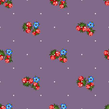 Seamless pattern of berries, flowers . Hand drawn floral ornament. Design for textile, paper, packaging, bedding from colorful doodle elements in folk style. Imagens - 153085774