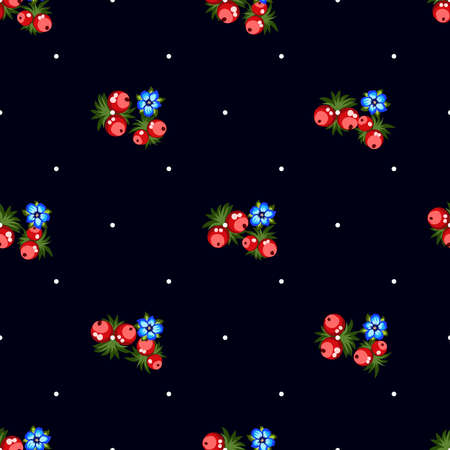 Seamless pattern of berries, flowers . Hand drawn floral ornament. Design for textile, paper, packaging, bedding from colorful doodle elements in folk style. Imagens - 153085773
