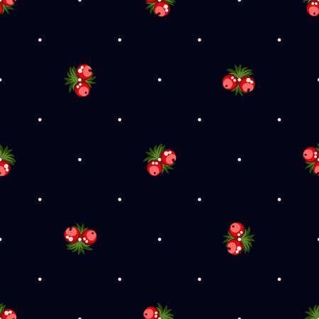 Seamless pattern of berries, flowers . Hand drawn floral ornament. Design for textile, paper, packaging, bedding from colorful doodle elements in folk style. Иллюстрация