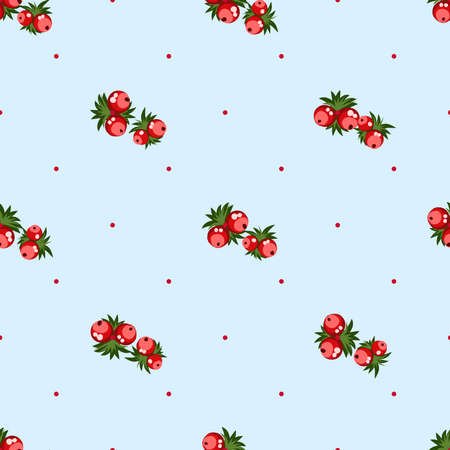 Seamless pattern of berries, flowers . Hand drawn floral ornament. Design for textile, paper, packaging, bedding from colorful doodle elements in folk style. Imagens - 153085778