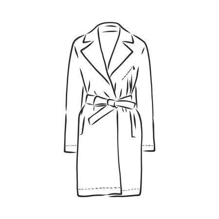 Coat female with long sleeves and pockets. vector Illustration