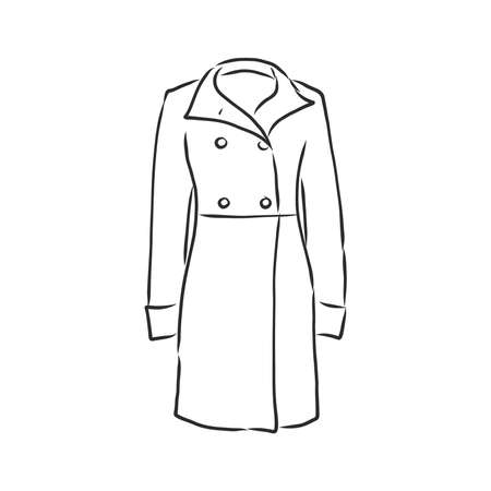 Autumn coat hand drawn vector illustration. Raincoat sketch design element isolated on white background. Fashion fall season clothing. Outerwear, parka coat ink pen freehand drawing