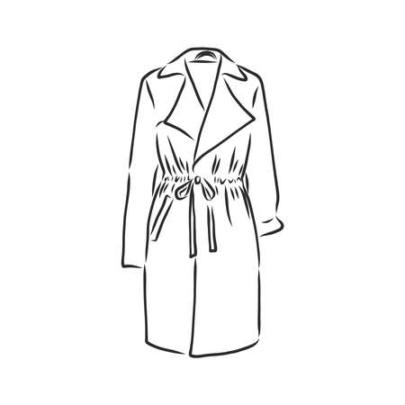 Raincoat. Monochrome sketch, hand drawing. Black outline on white background. Vector illustration