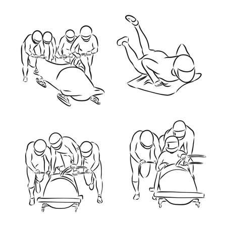 hand sketch bobsleigh, bobsleigh sports, vector sketch