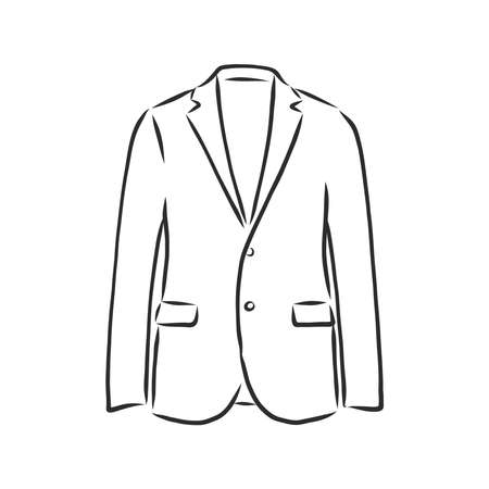 Drawing one continuous line. Men's jacket. Linear style Vector Illustration