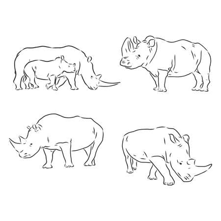 Rhino silhouette line drawings - vector set of Rhino Иллюстрация