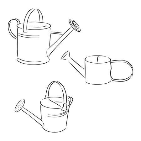 Garden water can vector drawing