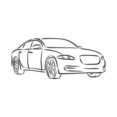 Car line art modern car, vector sketch illustration