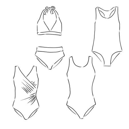 Women's swimsuit. Technical drawing. Beach clothes. Vector illustration