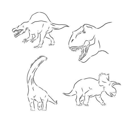 Dinosaurs vector drawings set dinosaur, vector sketch illustration