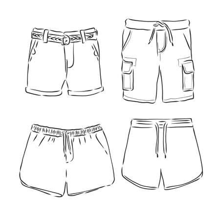 Vector illustration of pants. Front and side views. Ilustração Vetorial
