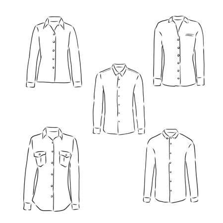 woman's shirt sketch. women's blouse, vector sketch illustration