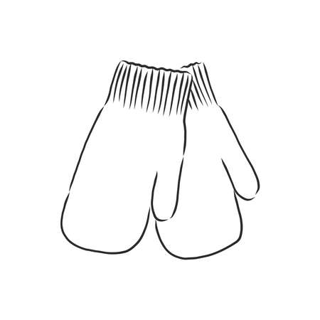 Baby mittens vector sketch icon isolated on background. Hand drawn Baby mittens icon. Baby mittens sketch icon for infographic, website or app.