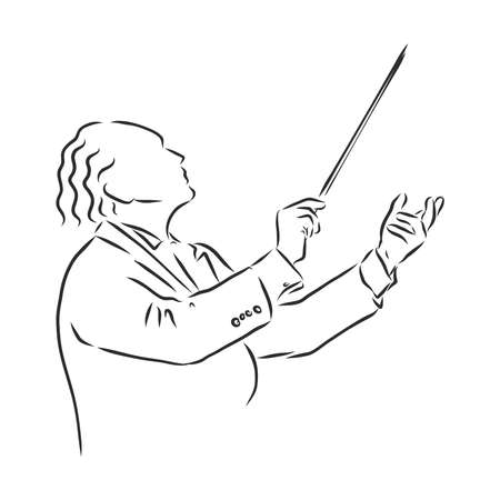 Orchestral conductor engraving vector illustration. Scratch board style imitation. Black and white hand drawn image.