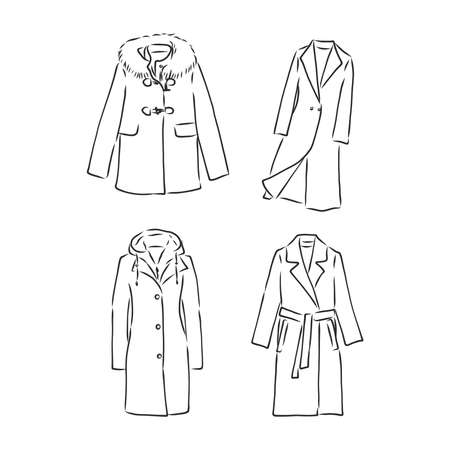 Trench coat icon. Fashion garment symbol. Technical drawing of garment for design,  advertising banner.