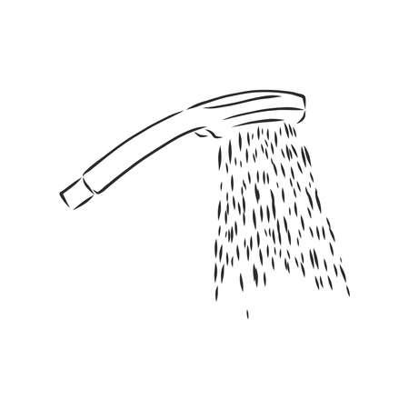 Hand-drawn sketch of shower head on a white background. Bathroom appliances. Bathroom equipment 向量圖像
