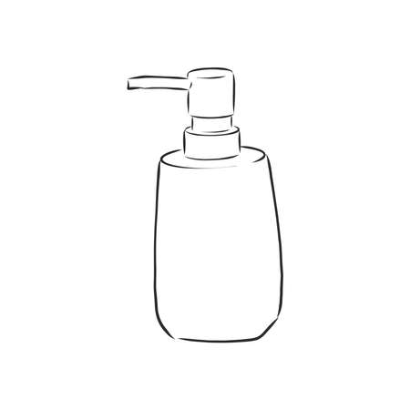 Hand drawn doodle White cosmetic bottle. Black stroke, simple line. Vector illustration isolated on white background. Bottle with liquid soap and dispenser. Jar for lotion, balm or cream.