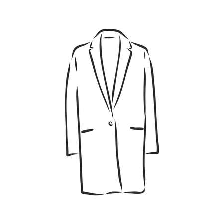 Women's coat, Fashion flat sketch. Technical drawing