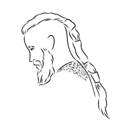 Viking. Hand drawn of a viking in a helmet. Sketch of viking head Vector artwork.