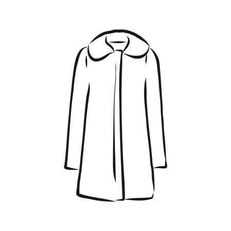 Women's coat, Fashion flat sketch. Technical drawing