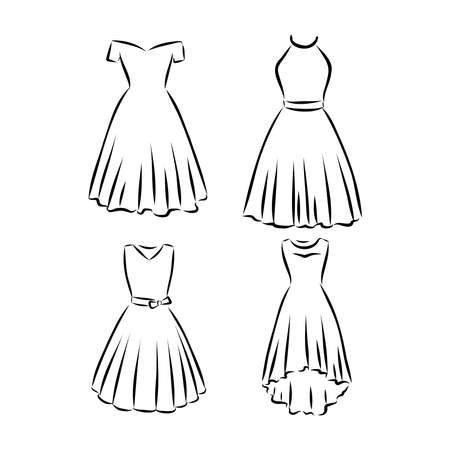 Hand drawn vector clothing set. of trendy dresses isolated on white.