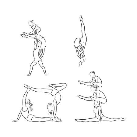 Acrobatic, balance, performance, cooperation concept. Hand drawn acrobats performing on scene concept sketch. Isolated vector illustration, acrobatics, vector sketch