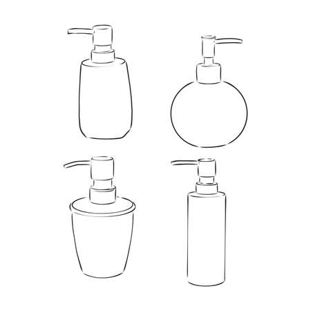 doodle hand sanitizer bottle illustration with hand drawn style vector