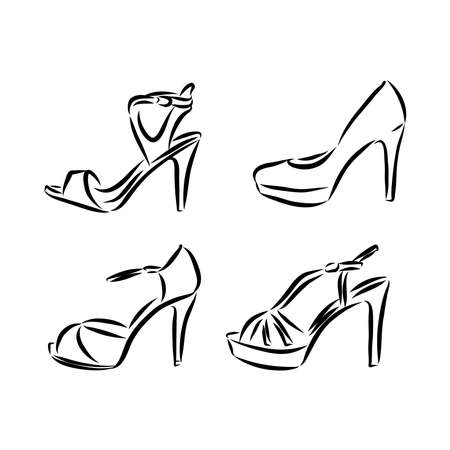 Set with beautiful women's shoes. Freehand drawing style