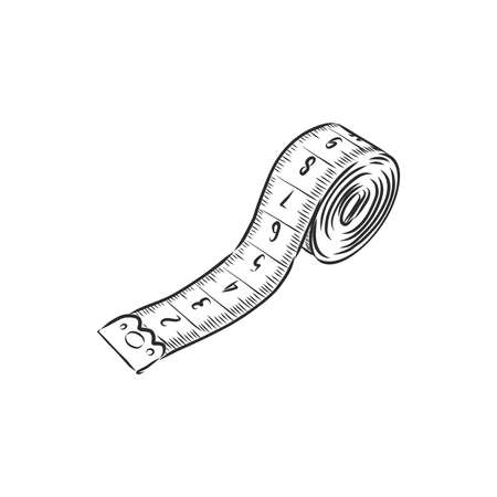 hand drawn, sketch illustration of measuring tape