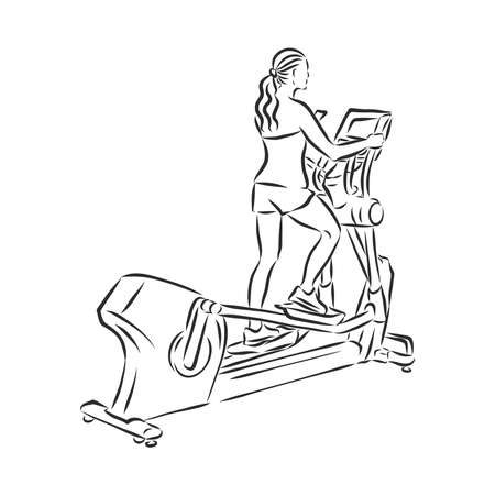 Hand drawn treadmill doodle. Sketch sports equipment and simulators, icon. Decoration element. Isolated on white background. Vector illustration.