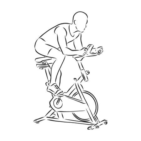 Hand drawn bicycle simulator doodle. Sketch sports equipment and simulators, icon. Decoration element. Isolated on white background. Vector illustration.
