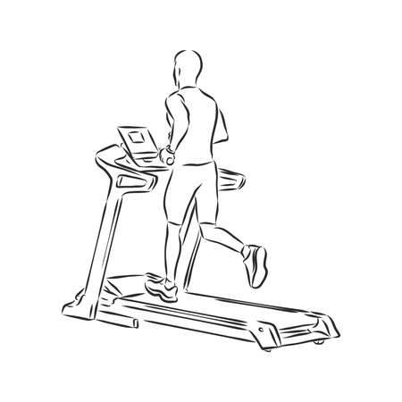 Treadmill doodle style sketch illustration hand drawn vector