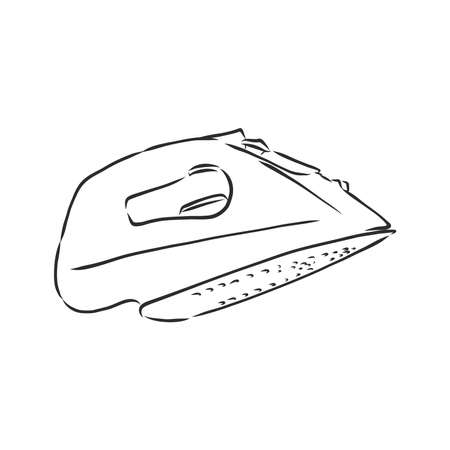 electric iron cartoon vector and illustration, black and white, hand drawn, sketch style, isolated on white background.