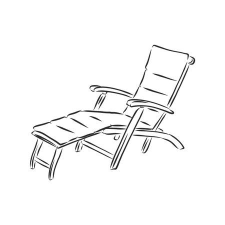 hand drawn beach chair. vector sketch