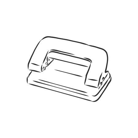 punch hole, sketch stationery hole punch, vector sketch illustration