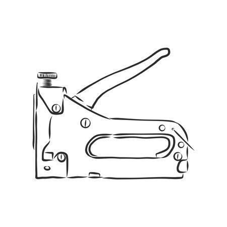 Staple Gun construction stapler vector sketch illustration
