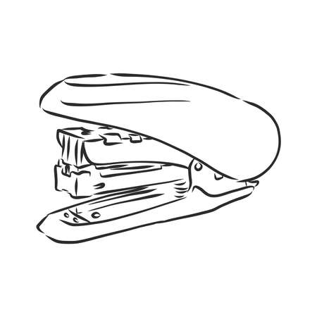Hand Drawn stapler doodle. Sketch style icon. Decoration element. Isolated on white background. Flat design. Vector Illustration