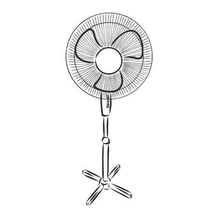 electrical fan is working vector cartoon, illustration isolated on white background. hand drawn, sketch style.