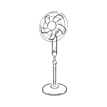 electrical fan is working vector cartoon, illustration isolated on white background. hand drawn, sketch