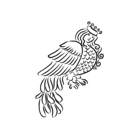 Sirin - illustration of the mythological half-woman half-bird that sings songs of paradise, bringing people happiness. the Sirin bird sketch vector illustration